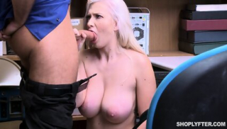 Busty Blonde And Security Guard In Action