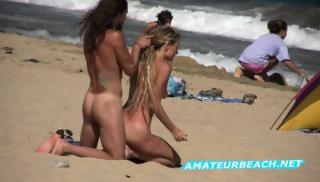 Blonde & Brunette Nudists Beach Voyeur Video