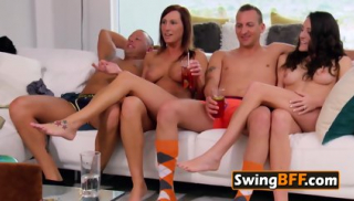 NAUGHTY redhead HIPSTER takes wife to BIG ORGY
