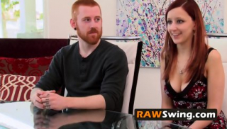 MUSCLED ginger dude takes his wife to the SWINGER HOUSE